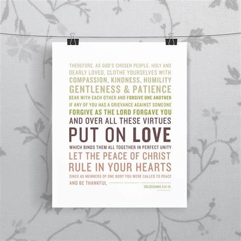 Wedding Bible Readings 15 by Colossians 3 12 15 Bible Verse Scripture Print