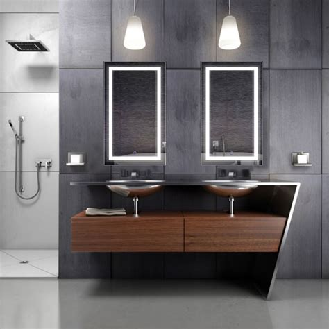 Bathroom Mirror L Led Bathroom Mirror Defogger Dimmer Vertical 18 Quot L X 30 Quot W Krugg Reflections Touch