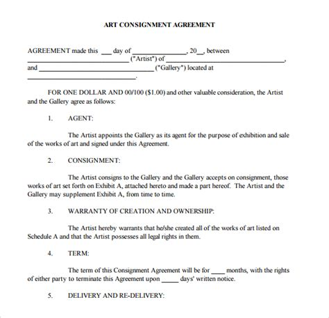 consignment store contract template consignment agreement 11 documents in pdf word