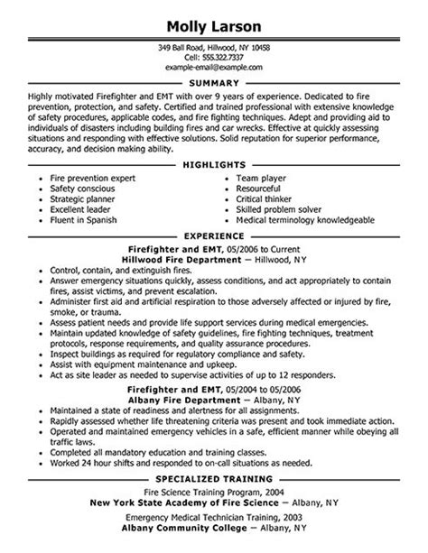 Firefighter Resume Sles by Firefighter Resume Resume Ideas