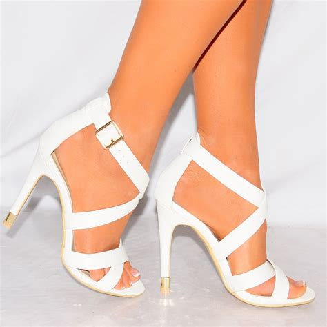 High Heels 2 White Murah white lizard print strappy open toe stiletto high heel shoes