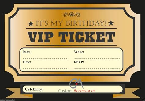 Vip Ticket Invite Birthday Party Invitations Kids Boys Girls Adults A5 Size Ebay Vip Birthday Invitations Templates Free