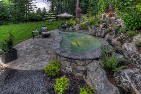 backyard tub landscape contemporary with deck grass