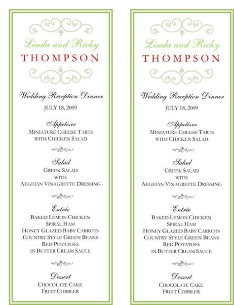 wedding menu template   printable menu cards