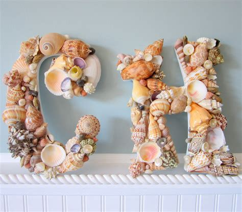 Shell Wall Decor by 2pc Shell Wall Letters For Decor By Beachgrasscottage