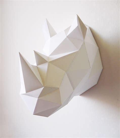 Rhinoceros Origami - troph 233 e origami en papier rhinoc 233 ros blanc