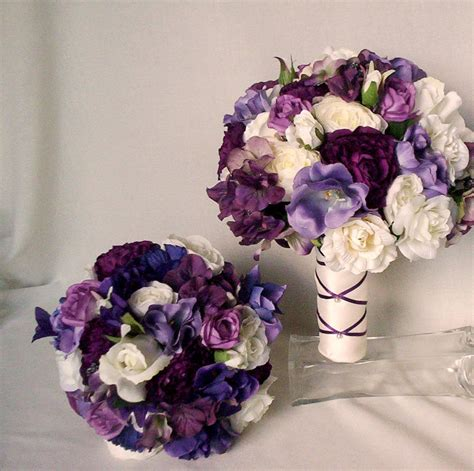 Silk Flower Bouquets For Weddings by Items Similar To Purple Bridal Bouquet Silk Wedding
