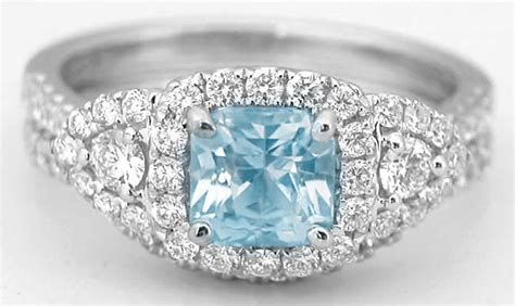 unique princess cut aquamarine engagement ring