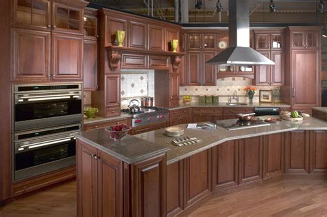 Clarke Kitchens by Honey Stained Cherry With Custom Corbals Traditional