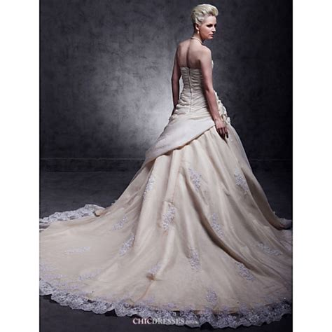 Plus Size Lace Wedding Dresses With Cathedral a line plus sizes wedding dress chagne cathedral