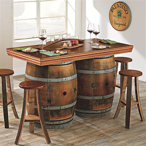 barrel bar table reclaimed wine barrel bar island set wine enthusiast