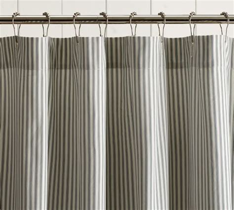 stripe shower curtains ticking stripe ruffle shower curtain pottery barn