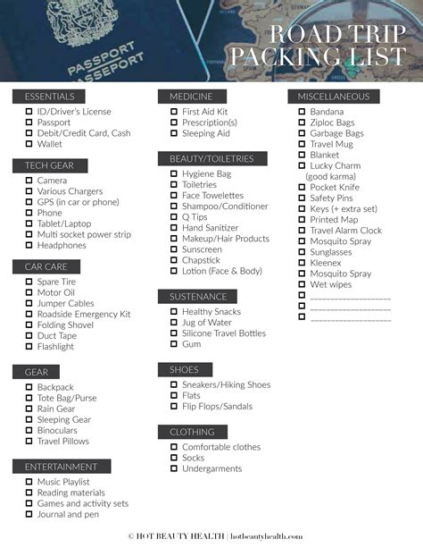 printable road trip packing checklist the road trip packing list 50 essentials hot beauty health