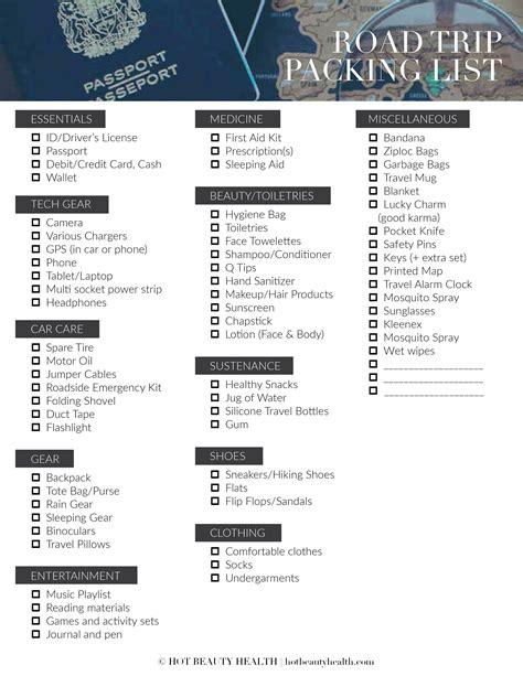 printable road trip checklist the road trip packing list 50 essentials hot beauty health