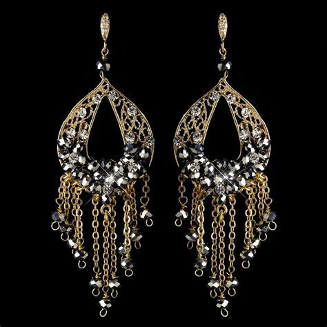 Gold Rhinestone Chandelier Earrings Gold Smoke Clear Rhinestone Made Chandelier Earrings 82041