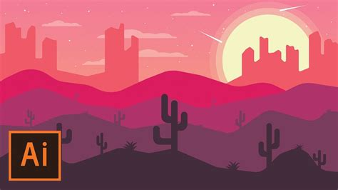 illustrator tutorial night scene illustrator illustrator tutorial desert landscape flat design
