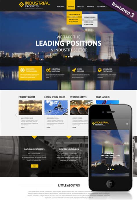 Bootstrap Templates For Industrial | industrial product bootstrap template id 300111833 from