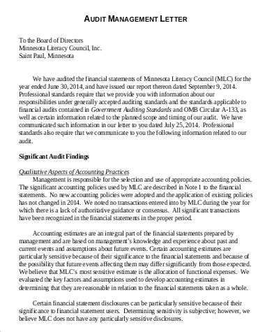 exles of cover letters for accounting audit management letter financial audit the