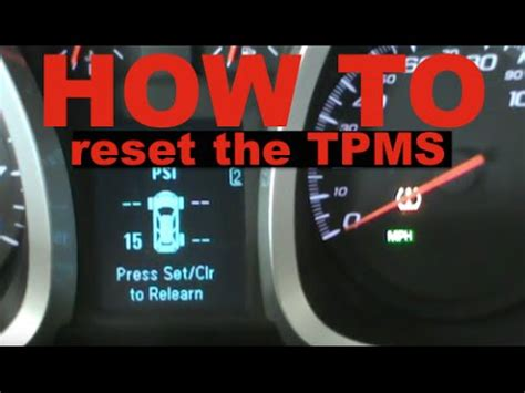 how to reset tire pressure light chevy equinox gmc terrain how to reset the tpms youtube