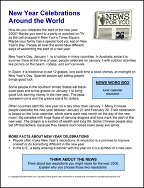 lesson plan on new year celebration news for you new year celebrations around the world