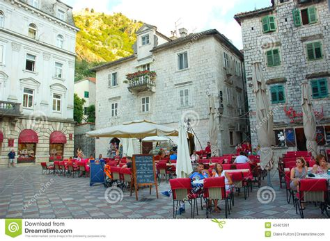 charming town charming town square in kotor montenegro editorial photo