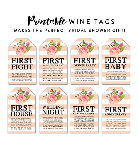 printable wine tags for bridal shower wine tags bridal shower gift first baby first anniversary
