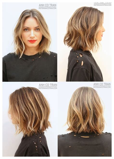 mid length hair cuts longer in front wavy angled lob www pixshark com images galleries with