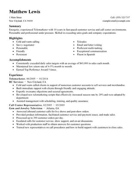Telemarketing Resume by Best Experienced Telemarketer Resume Exle Livecareer