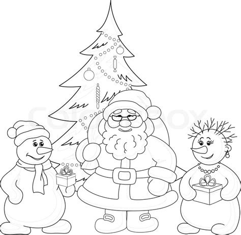 christmas picture outline santa claus tree and snowmans outline stock vector colourbox