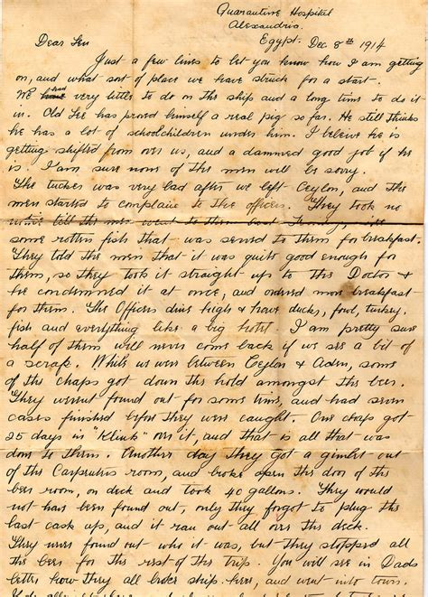 letter from world war one describing the journey from aust