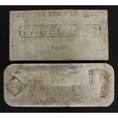 1 Troy Oz Engelhard Silver Bars - bullion 1 johnson matthey silver bar 100 troy oz