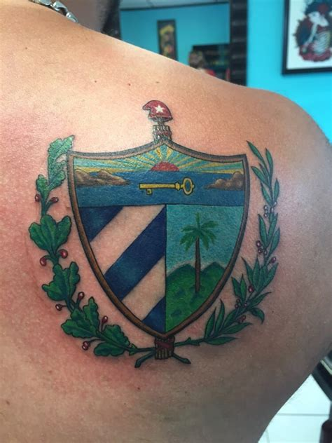 bad habits tattoo cuban shield done by amaury ramirez yelp