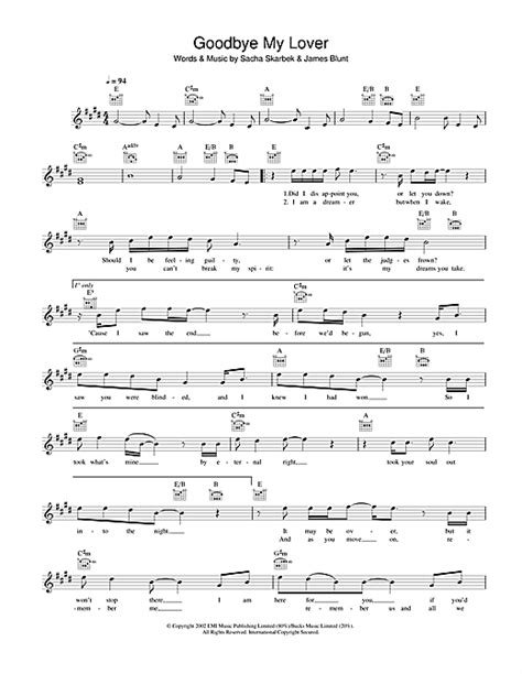 tutorial piano goodbye my lover goodbye my lover chords by james blunt melody line