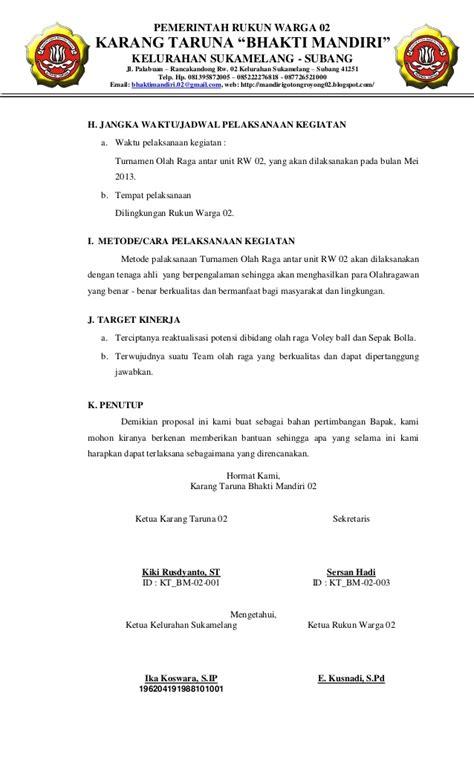 permohonan perlengkapan olahraga karang taruna bhakti mandiri