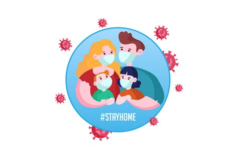 premium stay home stay safe illustration   png