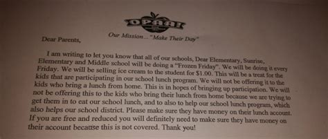 Parent Letter Of Richmond School Tries Bribing With To Eat O Lunches Eagnews Org