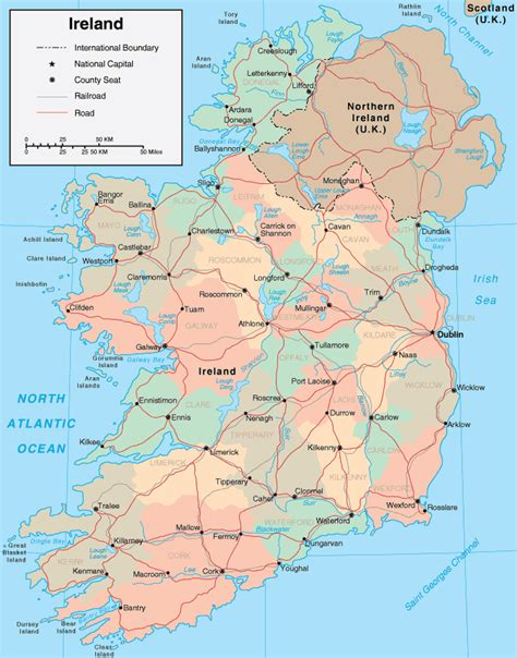 map of with cities and rivers map of ireland geography city ireland map geography
