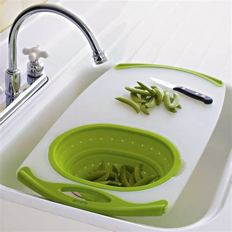 over the sink cutting board with strainer nonslip over the sink cutting board petagadget