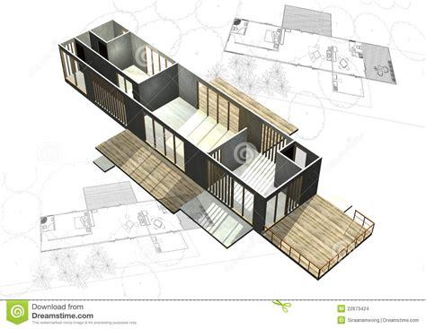 Architectural Building Plans Housing Architecture Plans With 3d Building Stock Illustration Image 22673424
