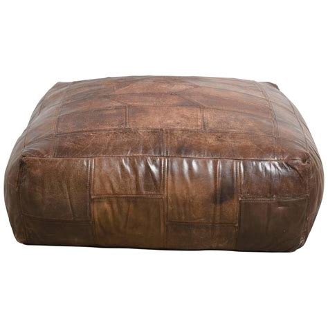 Patchwork Leather Ottoman - mid century patchwork ottoman in leather from de sede