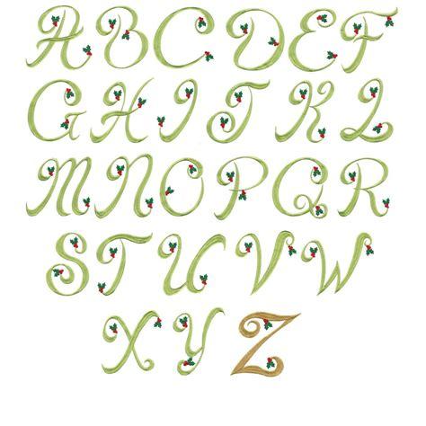 design holiday font holly monogram machine embroidery alphabet font designs