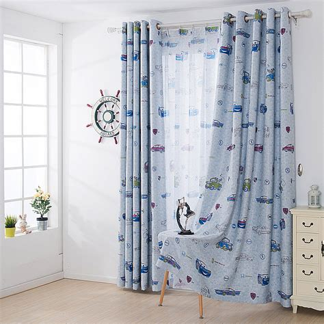 cars curtain classcic blue color curtain with cars pattern for boys
