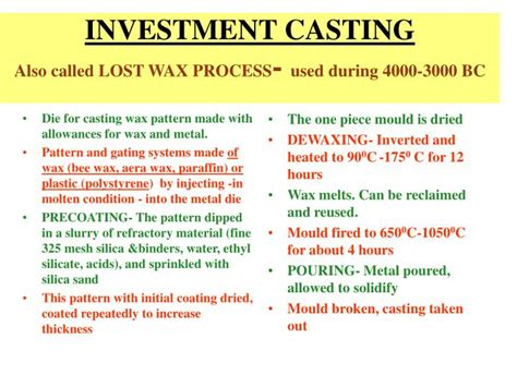 pattern making casting ppt ppt investment casting also called lost wax process