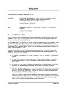 Car Insurance Indemnity Letter Indemnity For Directors Form Template Sle Form Biztree