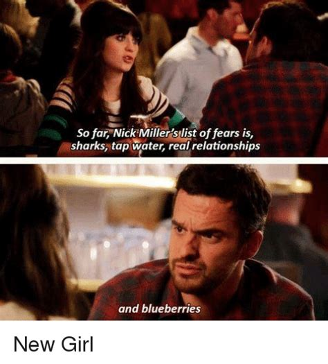 New Girl Meme - so far nick miller slist of fears is sharks tap water real