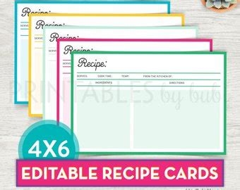 4x6 recipe card template editable editable recipe cards kitchen organization brown recipe