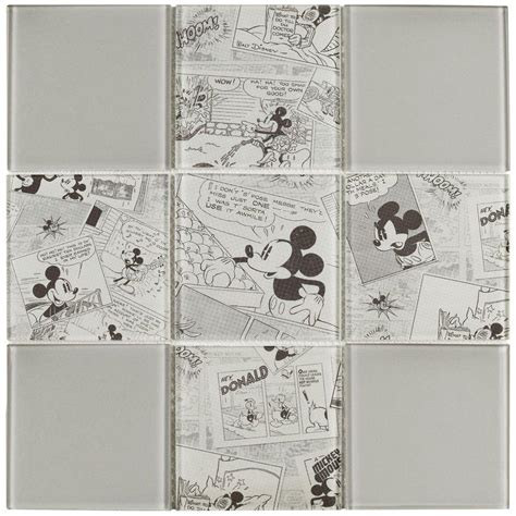 Mickey Mouse Kitchen Backsplash Disney Mickey Vintage 11 3 4 In X 11 3 4 In X 5 Mm Glass