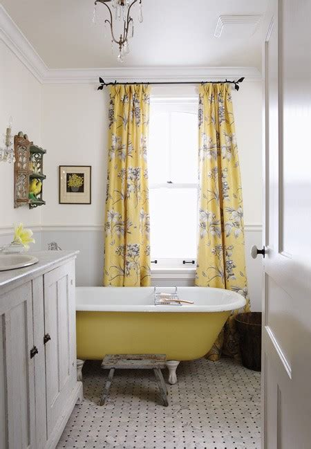 yellow and gray curtains cottage bathroom