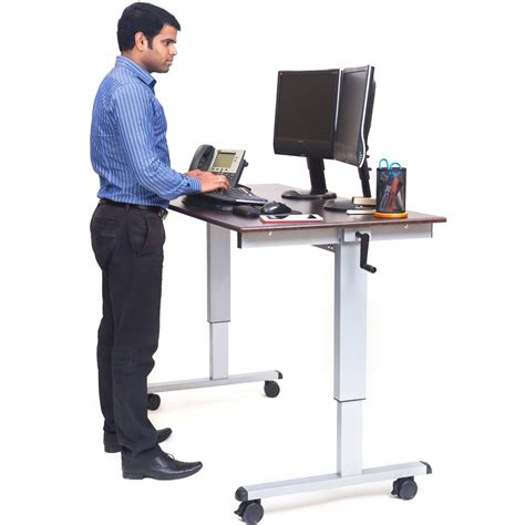 ergonomic stand up desk luxor standup cf60 dw 60 quot crank adjustable stand up desk