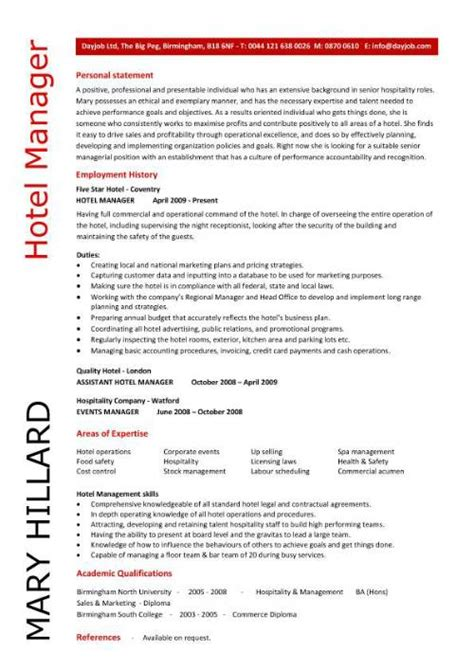 hotel manager cv template description cv exle resume skills